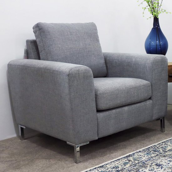 Gibson Fabric Upholstered Armchair In Grey