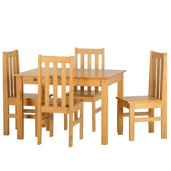Gibson 4 Seater Wooden Dining Table Set In Oak Lacquer