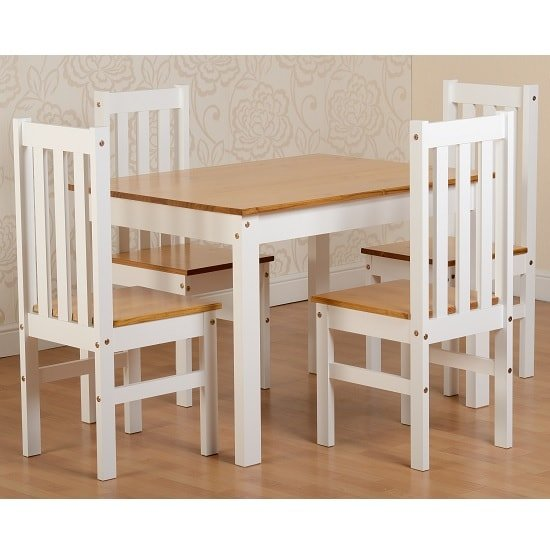 Gibson 4 seater wooden dining table set in white and oak for 4 seater dining room set