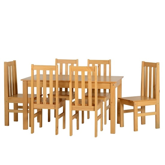 Gibson 6 Seater Wooden Dining Table Set In Oak Lacquer