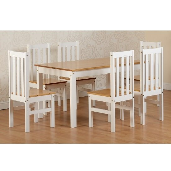 Gibson 6 Seater Wooden Dining Table Set In White And Oak
