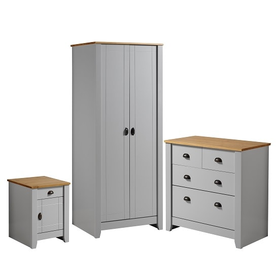 Gibson Wooden Bedroom Furniture Set In Grey And Oak