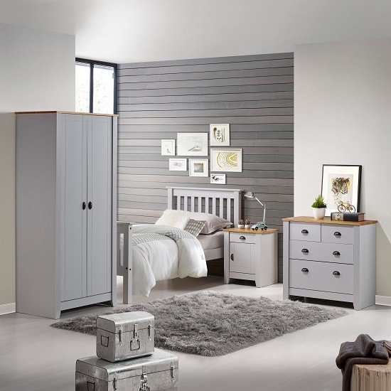 Gibson Wooden Bedroom Furniture Set In Grey And Oak 32044