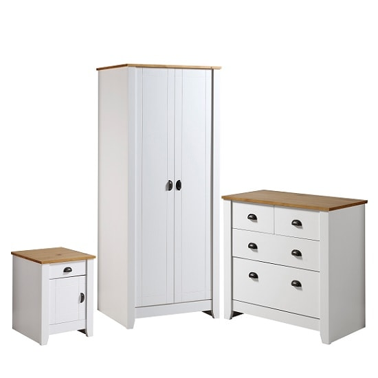 gibson wooden bedroom furniture set in white and oak 32042
