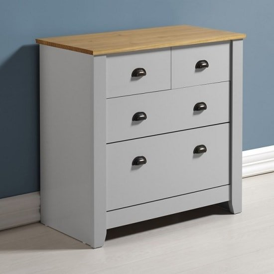 Gibson Chest Of Drawers In Grey And Oak With 4 Drawers