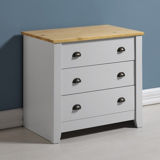 Gibson Wooden Chest Of Drawers In Grey And Oak With 3 Drawers