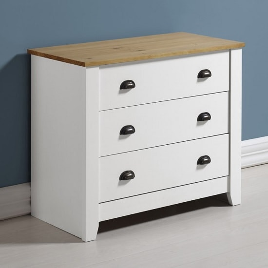 Gibson Wooden Chest Of Drawers In White And Oak With 3 Drawers