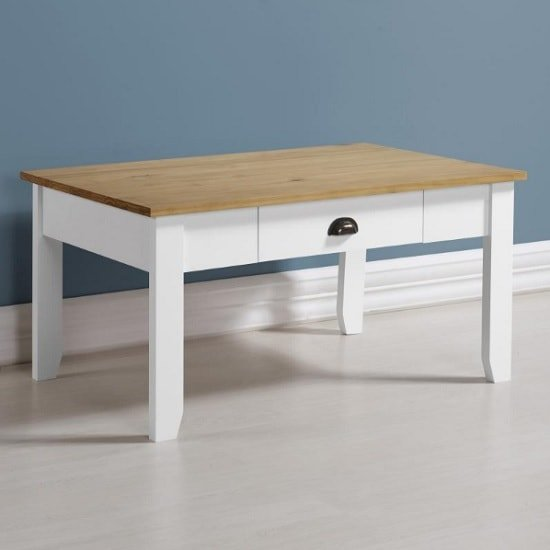 Gibson Wooden Coffee Table Rectangular In White And Oak