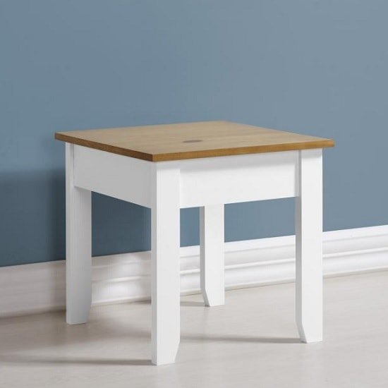 Photo of Gibson wooden lamp table square in white and oak