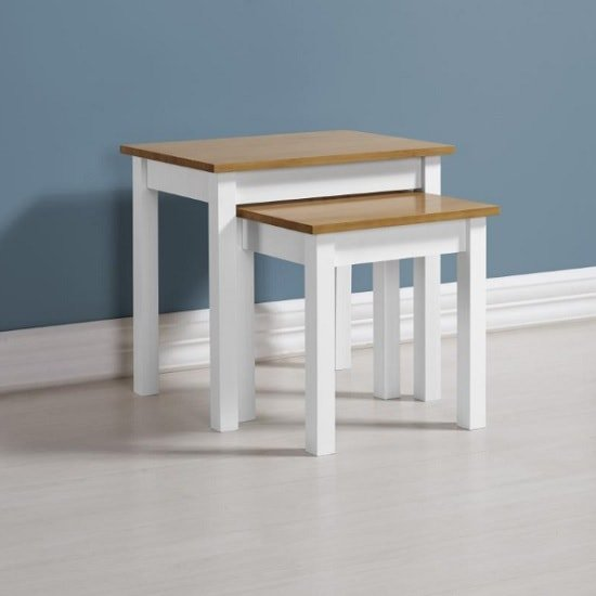 Photo of Gibson wooden nest of tables in white and oak
