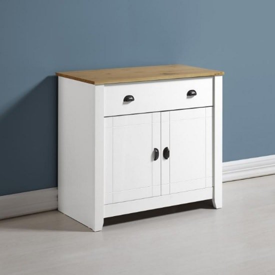 gibson wooden sideboard rectangular in white and oak