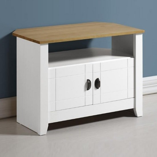 Gibson Wooden Corner Tv Stand In White And Oak 32037
