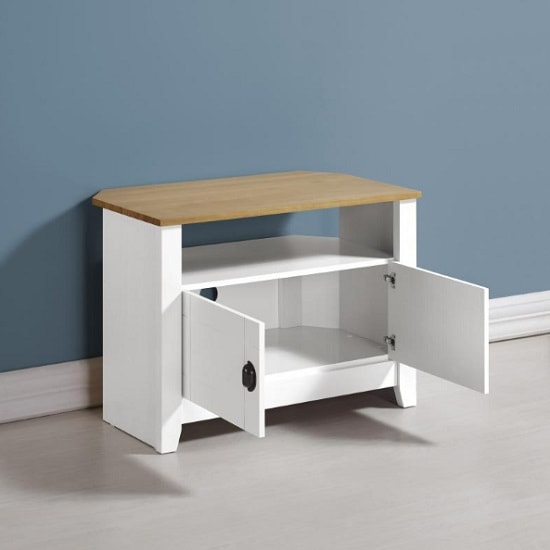 Gibson Wooden Corner TV Stand In White And Oak_2