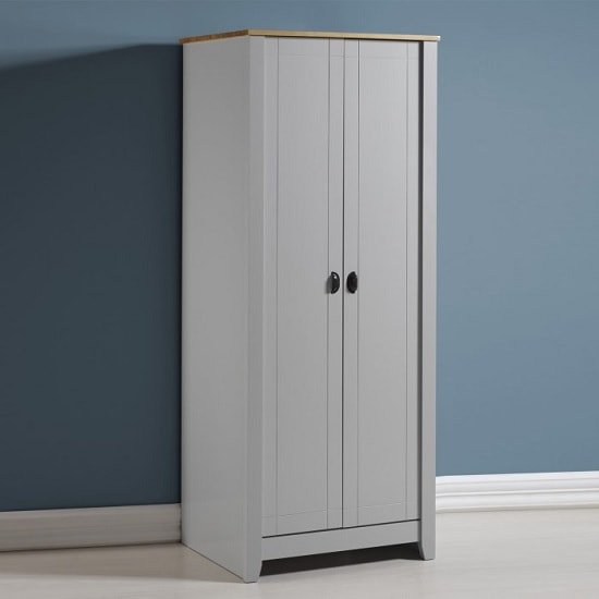 Gibson Wooden Wardrobe In Grey And Oak With 2 Doors 32030