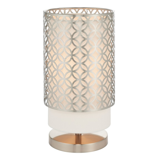 View Gilli table lamp in nickel and vintage white
