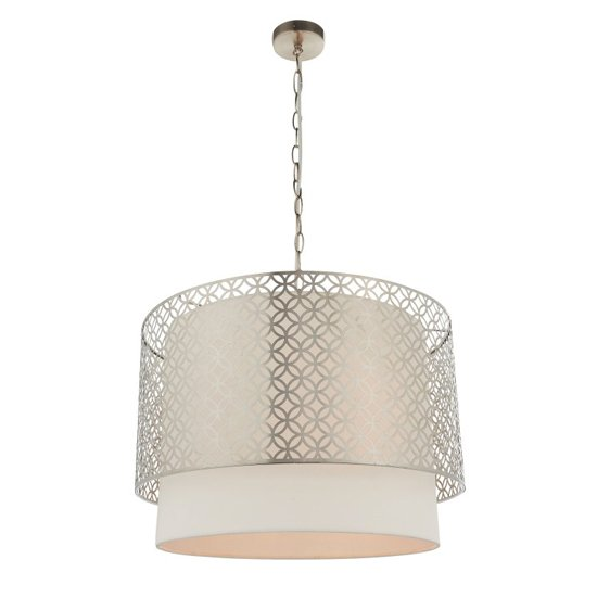 View Gilli wall hung 3 pendant light in nickel and vintage white