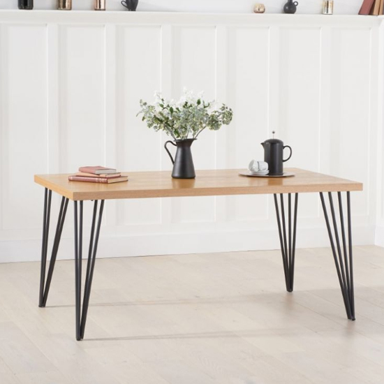 Ginan Wooden Dining Table In Ash With Black Metal Legs