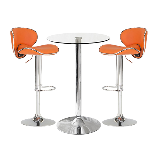 Gino Bistro Bar Table With 2 Orange Leather Nigella Stools