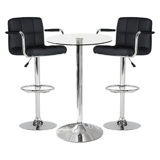 View Gino bistro glass bar table with 2 black miami bar stools