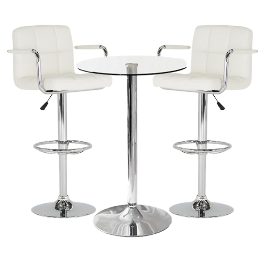 View Gino bistro glass bar table with 2 white miami bar stools