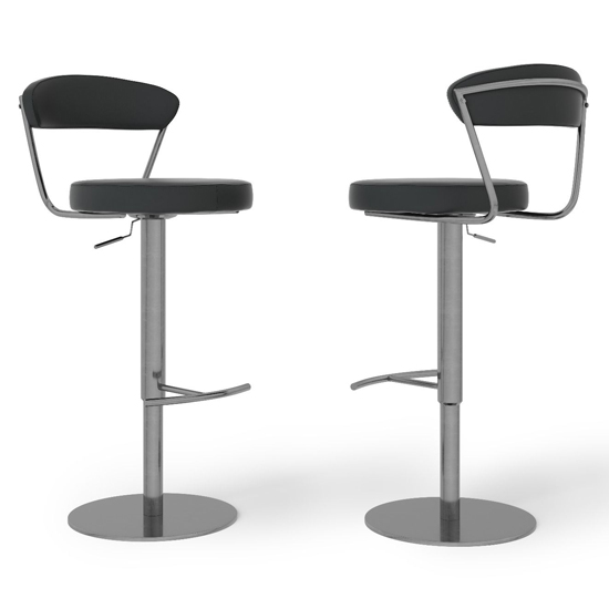 Gino Black Faux Leather Gas-lift Bar Stools In Pair_2