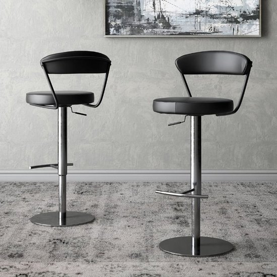 Gino Black Faux Leather Gas-lift Bar Stools In Pair