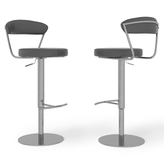 Gino Grey Faux Leather Gas-lift Bar Stools In Pair_2