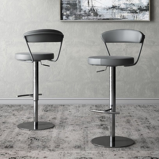 Gino Grey Faux Leather Gas-lift Bar Stools In Pair