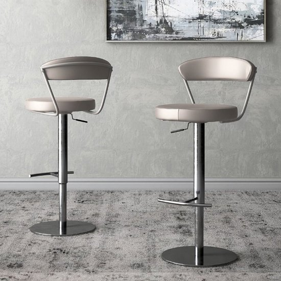 Gino Taupe Faux Leather Gas-lift Bar Stools In Pair