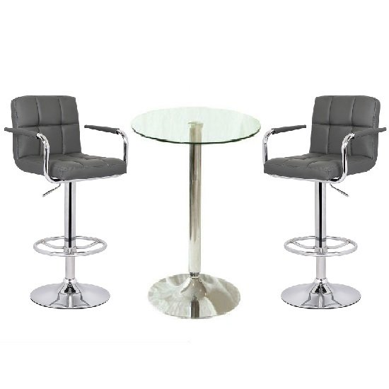 Read more about Gino bar table in clear glass with 2 glenn bar stool in grey