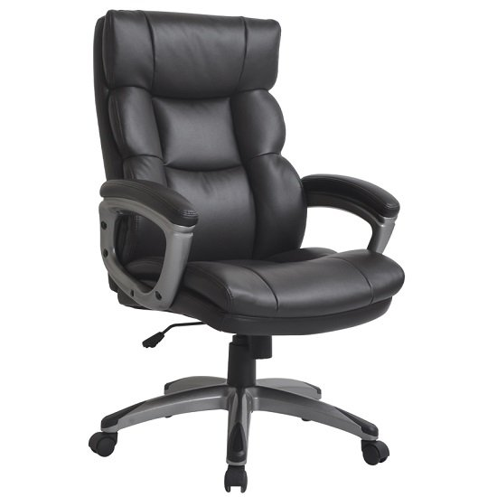 Girton PU Office Chair In Dark Brown With Nylon Black Casters