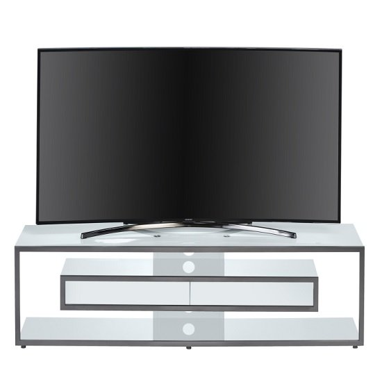 Gisela TV Stand In White Glass And Platinum Grey Metal Frame