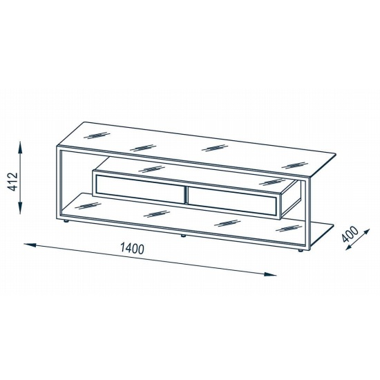Gisela TV Stand In White Glass And Platinum Grey Metal Frame_2