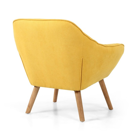 Giselle Fabric Bedroom Chair In Yellow With Wooden Legs_2