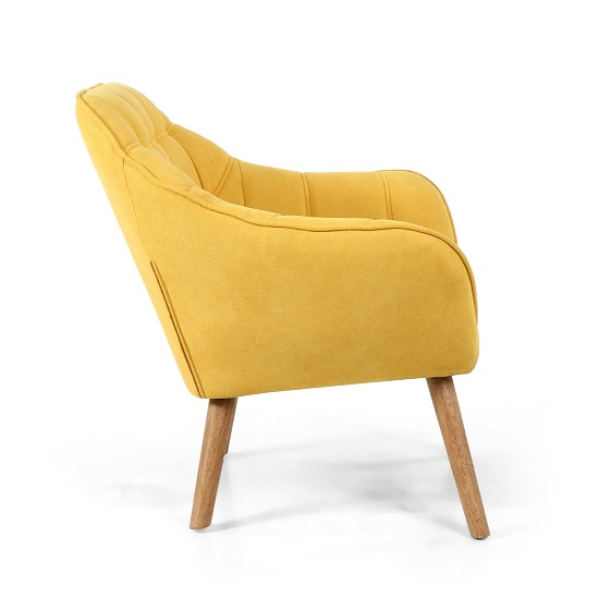 Giselle Fabric Bedroom Chair In Yellow With Wooden Legs_3