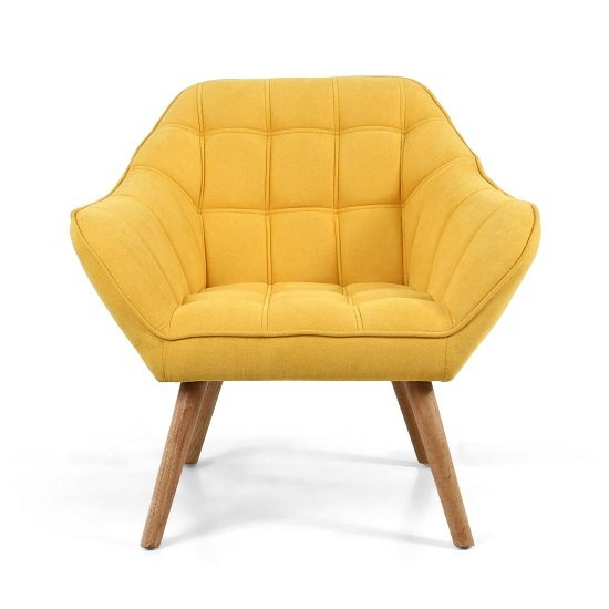 Giselle Fabric Bedroom Chair In Yellow With Wooden Legs_4