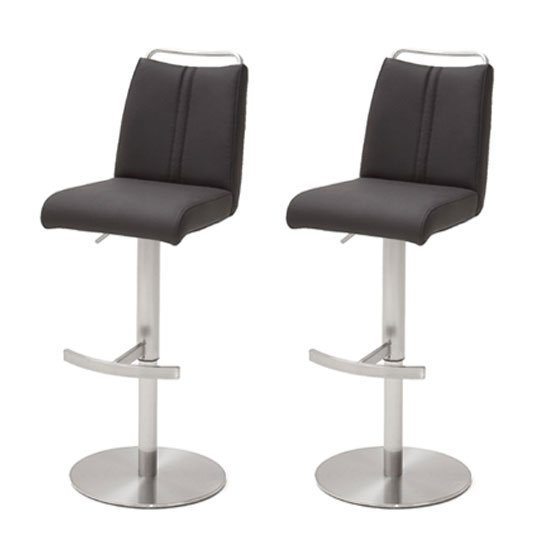 Giulia Anthracite Bar Stool In Pair With Stainless Steel Base