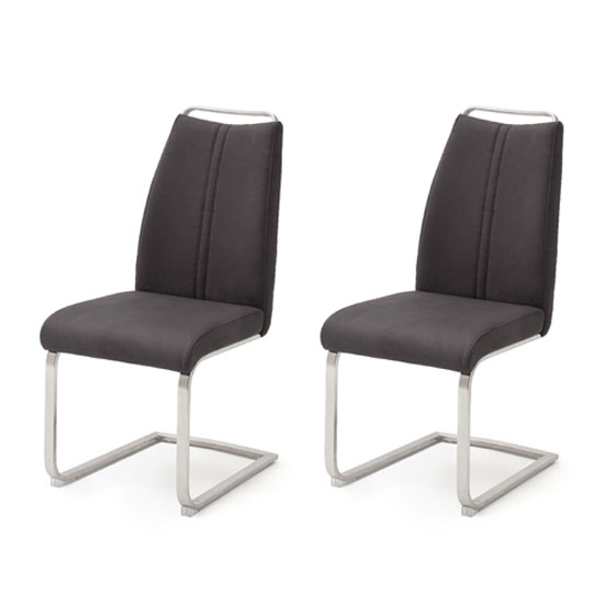 Giulia Anthracite Cantilever Dining Chair In A Pair