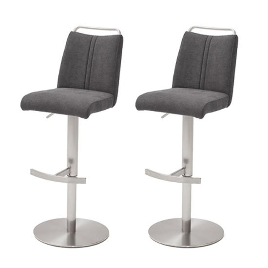 Giulia Anthracite Fabric Bar Stool With Steel Base In Pair
