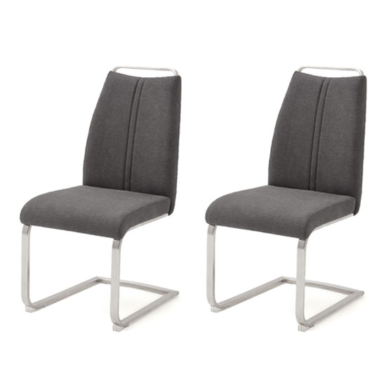 Giulia Anthracite Fabric Cantilever Dining Chair In A Pair