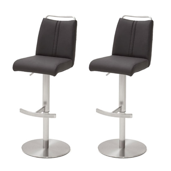 Giulia Anthracite Leather Bar Stool With Steel Base In Pair