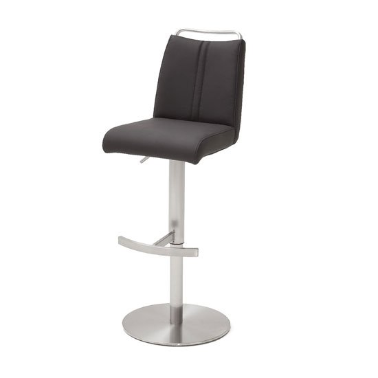 Giulia Bar Stool In Anthracite With Stainless Steel Base