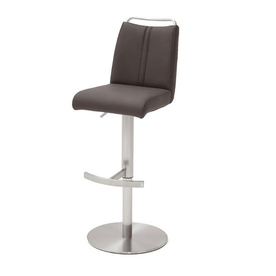 Giulia Bar Stool In Brown With Stainless Steel Base