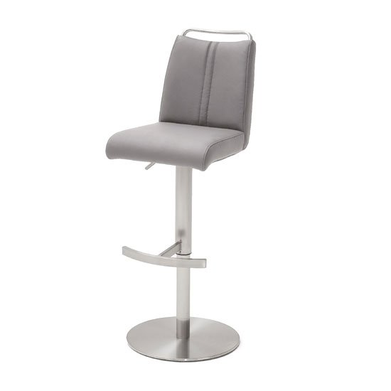 Giulia Bar Stool In Ice Grey With Stainless Steel Base