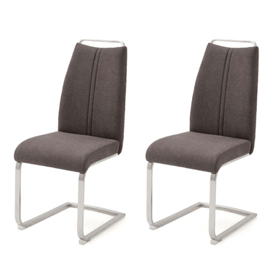 Giulia Brown Fabric Cantilever Dining Chair In A Pair