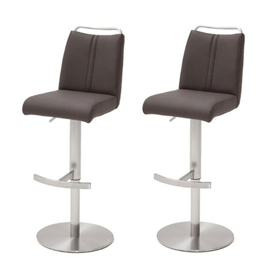 Giulia Brown Leather Bar Stool In Pair With Steel Base
