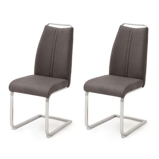 Giulia Brown Leather Cantilever Dining Chair In A Pair_1