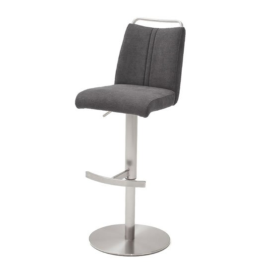 Giulia Fabric Bar Stool In Anthracite With Steel Base_1