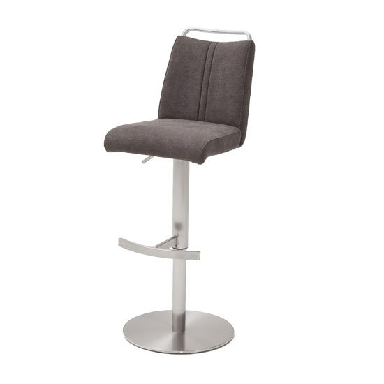 Giulia Fabric Bar Stool In Brown With Steel Base