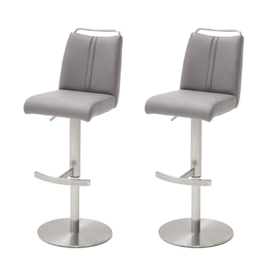 Giulia Ice Grey Leather Bar Stool In Pair With Steel Base